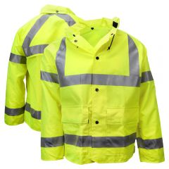 Neese 7002AJ Class 3 Self-Extinguishing HiVis PU Coated Safety Rain Jacket