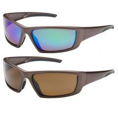 PIP Bouton Optical Sunburst Anti-Scratch Brown Frame Safety Glasses