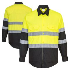 Portwest E066 Class 2 HiVis Black Bottom Long Sleeve Button Up Work Shirt