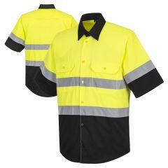 Portwest E067 Class 2 HiVis Black Bottom Short Sleeve Button Up Work Shirt