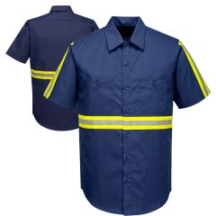 Portwest F124 Iona Xtra Enhanced Visibility Short Sleeve Button Up Shirt