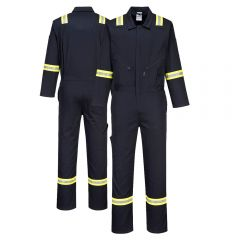 Portwest F129 Iona Xtra Enhanced Visibility Cotton Navy Coverall