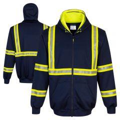 Portwest F130 Iona Xtra Enhanced Visibility Full-Zip Navy Sweatshirt