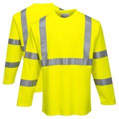 Portwest FR96 Class 3 FR CAT 2 Hi-Vis Long Sleeve T Shirt