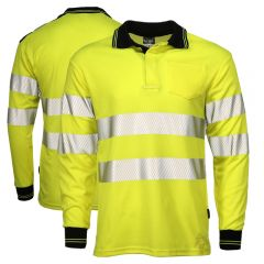 Portwest T184 Class 3 High Visibility Long Sleeve Polo Shirt