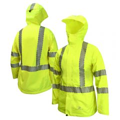 Radians RW12L Class 3 Hi Vis Ladies Lightweight Ripstop Packable Rain Jacket
