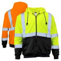 Radians SJ01B Class 3 Black Bottom High Visibility Zippered Sweatshirt