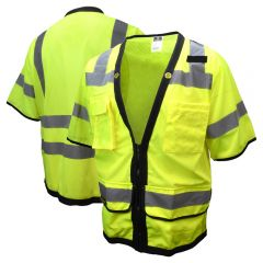 Radians SV59Z-3 Class 3 Hi Vis Heavy Duty Zippered Mesh Surveyor Safety Vest