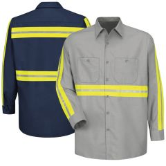 Red Kap SP14 Enhanced Visibility Long Sleeve Industrial Work Shirt
