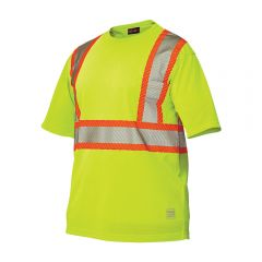 Work King S395 Premium Short Sleeve Micro-mesh Safety T-Shirt | Lime: Front
