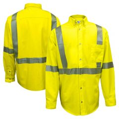 National Safety Apparel VIZABLE FR Class 3 HRC 2 Ultrasoft Button Down Work Shirt