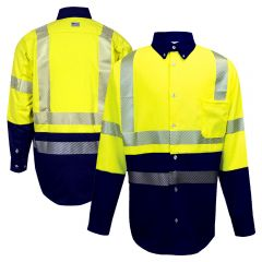National Safety Apparel VIZABLE FR Class 3 CAT 2 Hybrid Button Down Work Shirt