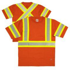 Touch Duck ST11 Class 2 HiVis Cotton Short Sleeve Contrast Safety T-Shirt  | Orange