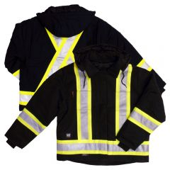Tough Duck S457 Class 1 Black Premium 10oz Cotton Duck Contrast Safety Jacket