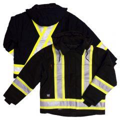 Tough Duck S457 Class 1 Black Premium 10oz Cotton Duck Contrast Safety Jacket