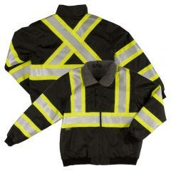 Tough Duck SJ26 Class 3 HiVis PU Coated Contrast Ripstop Sherpa Lined Safety Bomber | Black