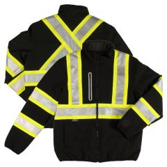 Tough Duck SJ27 Class 3 HiVis Contrast Ripstop Reversible Quilt-lined Safety Jacket | Black