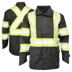 Tough Duck SJ35 Class 1 Black Lightweight Ripstop Safety Rain Jacket