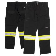 Tough Duck SP03 Class E Black Flex Twill Safety Cargo Pants