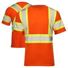 Tough Duck ST11 Class 2 HiVis Cotton Short Sleeve Contrast Safety T-Shirt  | Orange