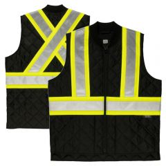 Tough Duck SV05 Class 2 HiVis Quilted Contrast Zippered Safety Vest | Black