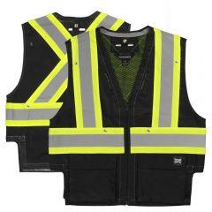 Tough Duck SV09 Class 2 Black HiVis Heavyweight Contrast Harness Compatible Safety Vest