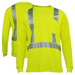National Safety Apparel TEEY2LSPC2 Vizable FR Class 2 HiVis Long Sleeve Shirt