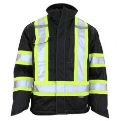 Work King S245 Class 3 HiVis 300D Ripstop Fleece Lined Jacket | Black, Front