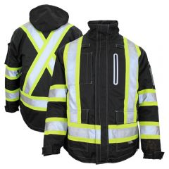 Work King SJ28 Class 1 Black HiVis Safety 300D Ripstop Shell