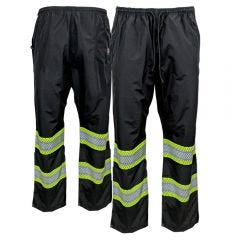 Work King SP02 Hi-Vis Class E Packable Rain Pants | Black