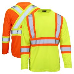 Work King ST10 Class 2 Polyester Micro Mesh Contrast Long Sleeve T-Shirt