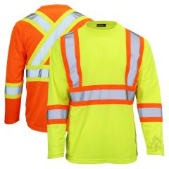 Work King ST10 Class 2 Polyester Micro Mesh Contrast Long Sleeve T-Shirt