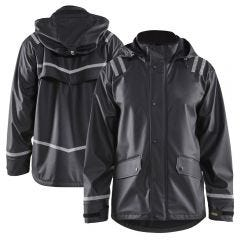 Blaklader 4317 Enhanced Visibility PU Coated Hooded Reflective Rain Jacket