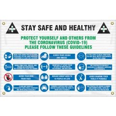 Stay Safe And Healthy COVID-19 Mesh Contractor Safety Sign