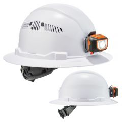 Ergodyne Skullerz 8971LED/8973LED Full Brim Hard Hat + LED Light with 4-Point Ratchet Suspension