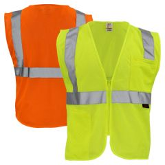 GSS Safety 1001/1002 Class 2 Hi Vis Mesh Zippered Safety Vest