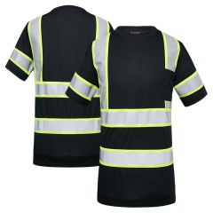 GSS Safety 5011 Enhanced Visibility Black Contrast Birdseye Short Sleeve Safety T-Shirt