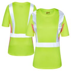 GSS Safety 5125 Class 2 Hi Vis Lime/Pink Ladies Short Sleeve Safety T-Shirt