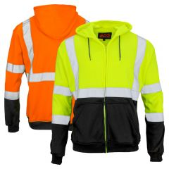 GSS Safety 7003/7004 Class 3 HiVis Black Bottom Full-Zip Hoodie Sweatshirt