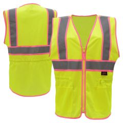 GSS Safety 7805 Pink Series Class 2 Hi Vis Lime/Pink Ladies Fit Mesh Safety Vest