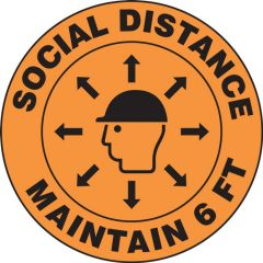 Hard Hat Vinyl Decal LHTL270 Social Distance Maintain 6ft-10PK