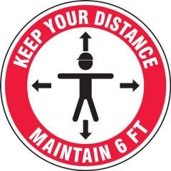 Hard Hat Vinyl Decal LHTL272 Keep Your Distance Maintain 6ft-10PK