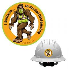 "HiVis Hank 991111 ""I Believe In Social Distancing"" Hard Hat Sticker"