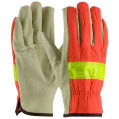 HiVis Top Grain Pigskin Leather Driver Gloves