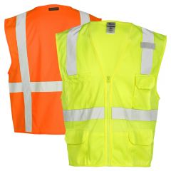 ML Kishigo 1291 Economy Series Multi-Pocket Solid Safety Vests | Lime Front