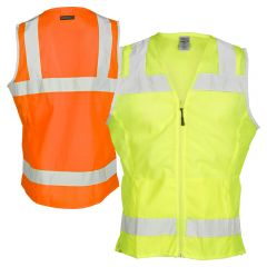 ML Kishigo 1525 Fitted Ladies Class 2 Mesh Safety Vest | Lime Front