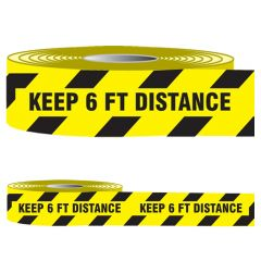 """Covid-19 Barricade Tape """"Keep 6FT Distance"""" 3"""" x 1000-FT"""