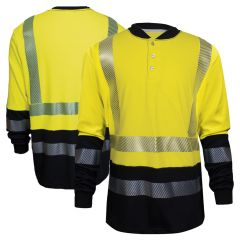National Safety Apparel C54HYB Hybrid FR Class 3 Long Sleeve Henley HRC-2