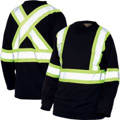 Work King S396 Micro-Mesh Long Sleeve - non-ANSI black shirt