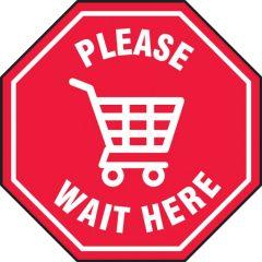 Slip-Gard Please Wait Here Shopping Cart Symbol Floor Sign